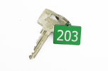 Nyckelbrickor i aluminium och rostfritt stål 22 mm x 32 mm