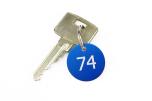 Nyckelbrickor bevakade i aluminium och rostfritt stål 28mm för offentliga verksamheter och företag